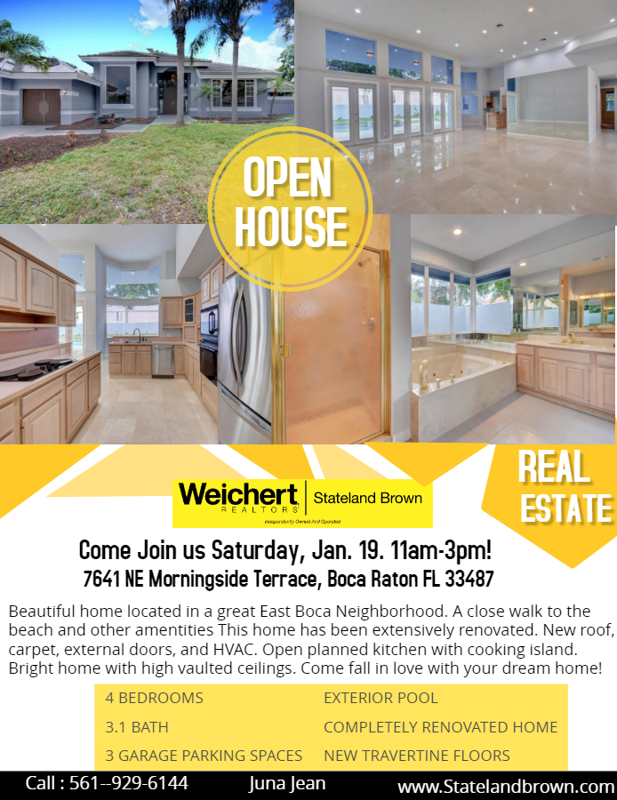 OPEN HOUSE in East Boca on Saturday, January 19th