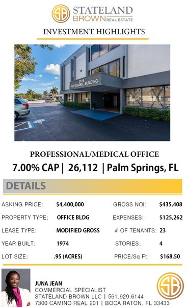 Professional Medical Office For Sale in Palm Springs, FL