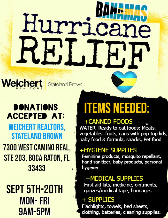 Weichert, Realtors ® - Stateland Brown is now accepting Donations for the Bahamas